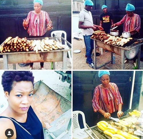 Big Brother Naija 2020 housemate Lucy Essien selling roasted plantain on the street