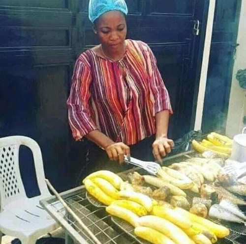 Big Brother Naija 2020 housemate Lucy Essien selling roasted plantain